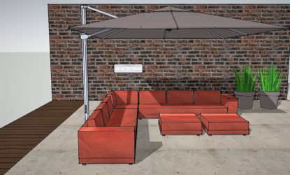 Red lounge outdoor project